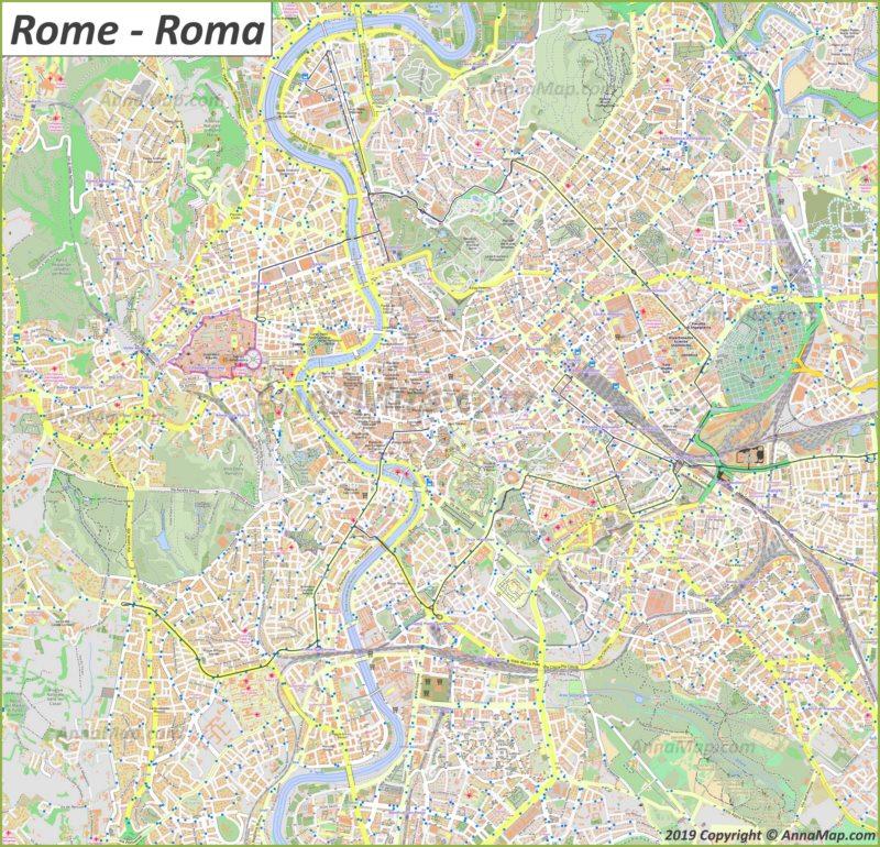 Plan touristique détaillée de Rome