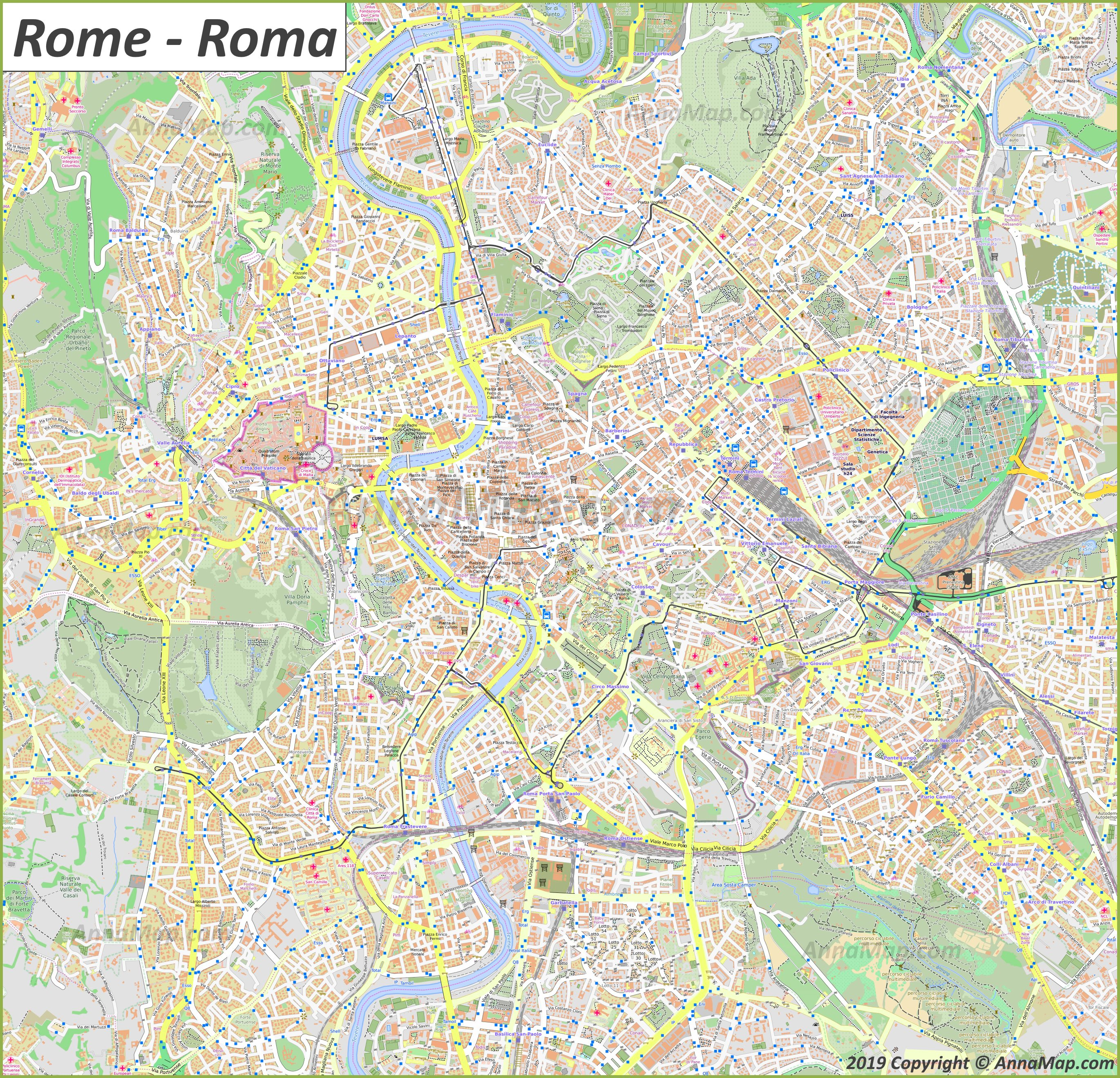 Free Printable Map Of Italy.Detailed Tourist Maps Of Rome Italy Free Printable Maps Of Rome
