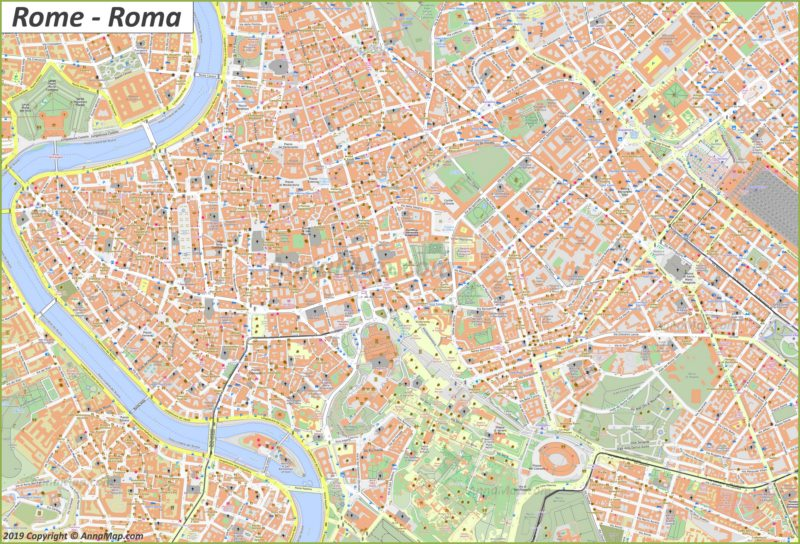Plan du centre-ville de Rome