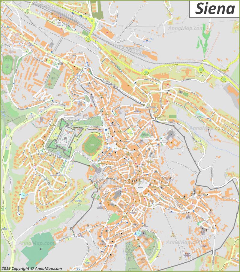 Подробная туристическая карта Сиены