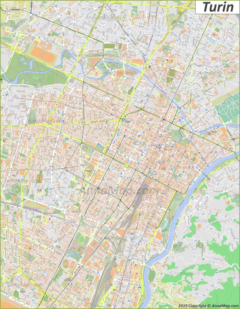 Mappa turistica dettagliata di Torino