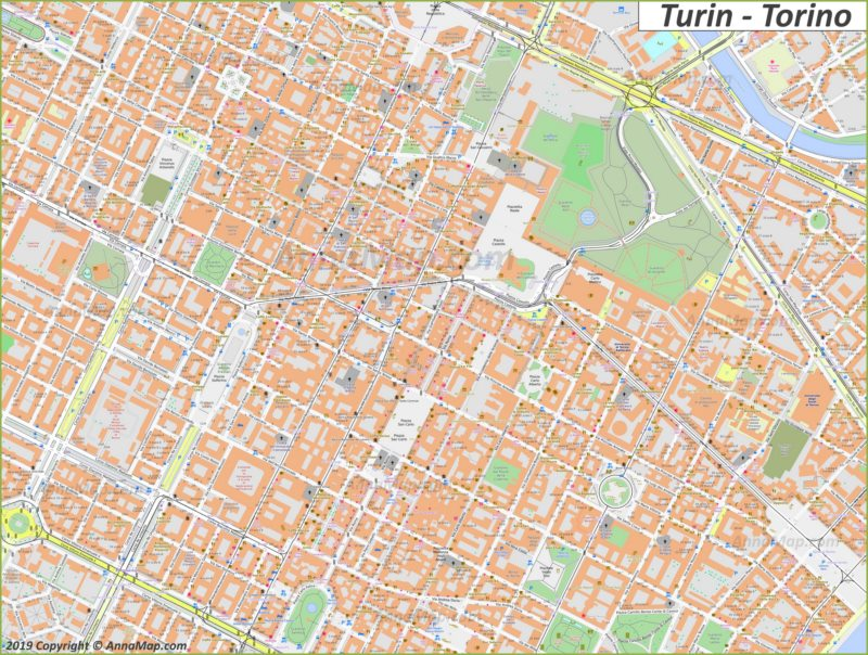 Mappa di Torino - Centro storico