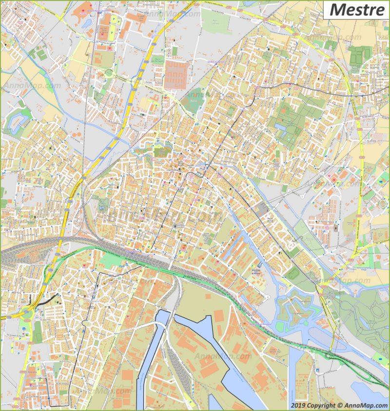 Plan touristique détaillée de Mestre