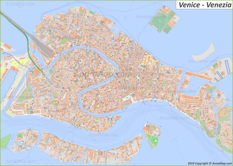 Plan touristique détaillée de Venise
