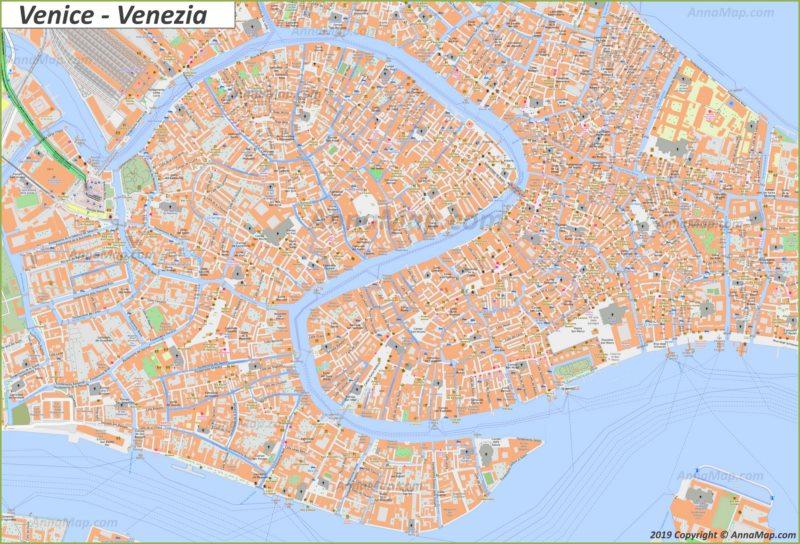 Plan du centre-ville de Venise