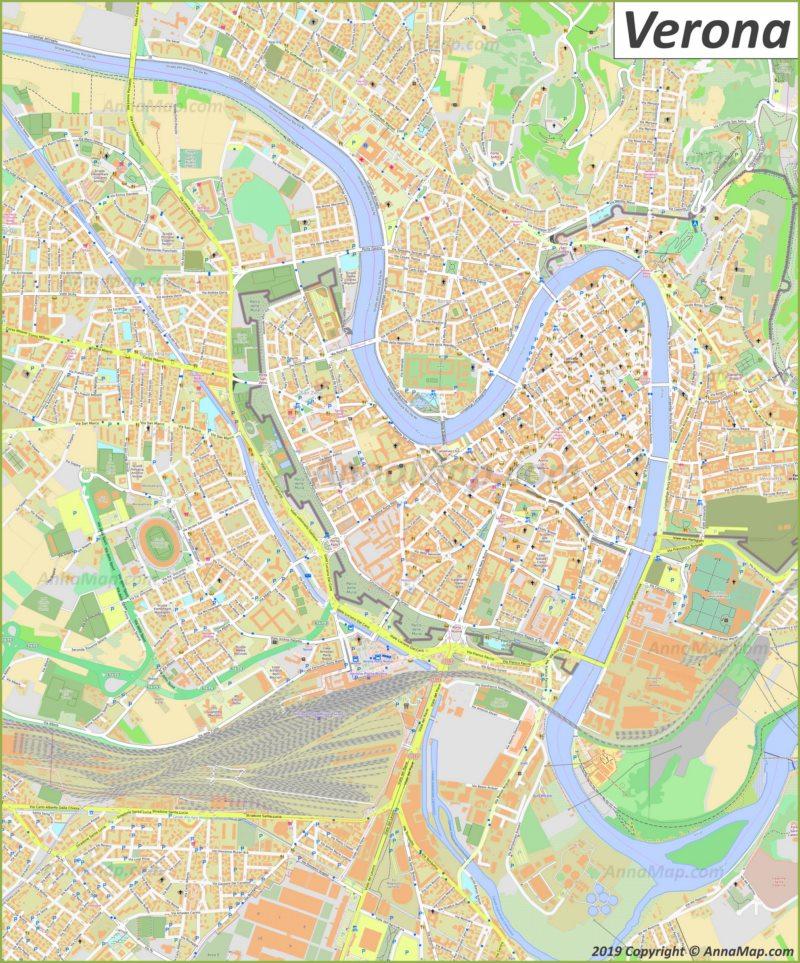 Подробная туристическая карта Вероны