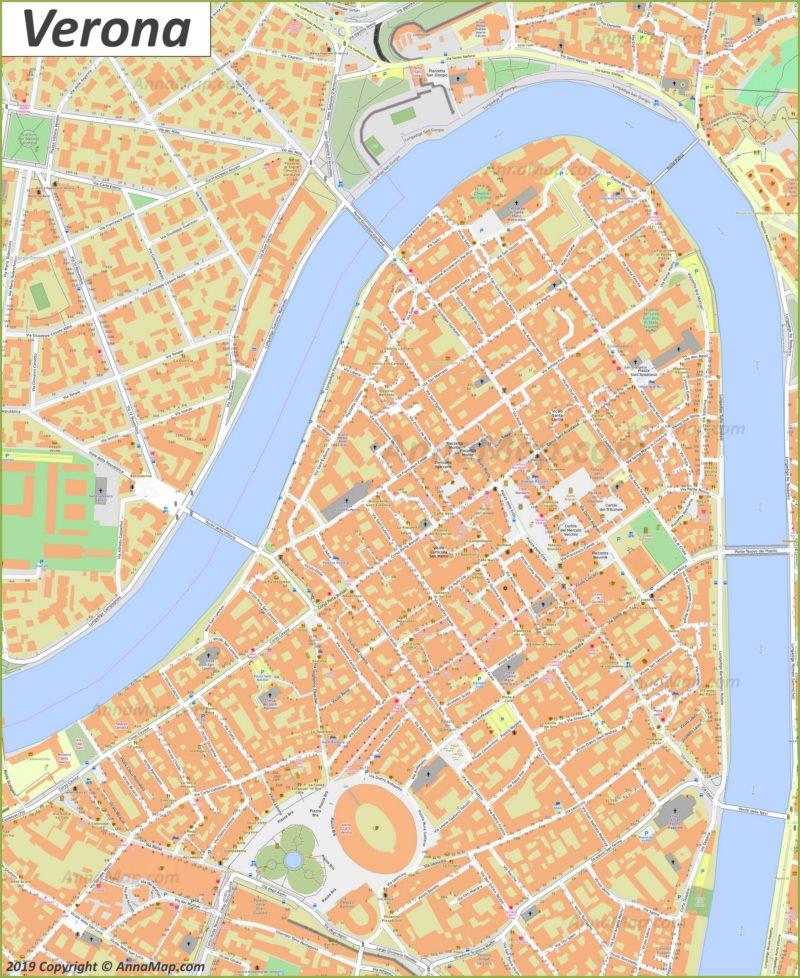 Карта Вероны - Центр Города
