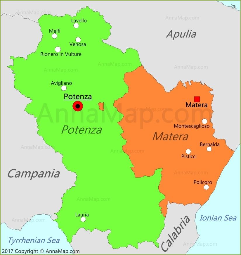 Basilicata Map Italy AnnaMapcom