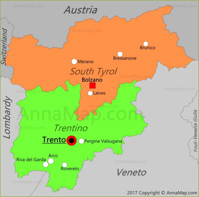 TrentinoAlto Adige Map Italy Map of TrentinoAlto Adige