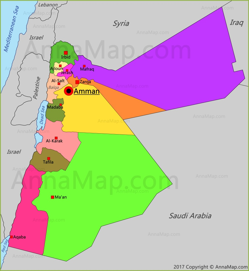 Jordan Map Map Of Jordan Annamap Com