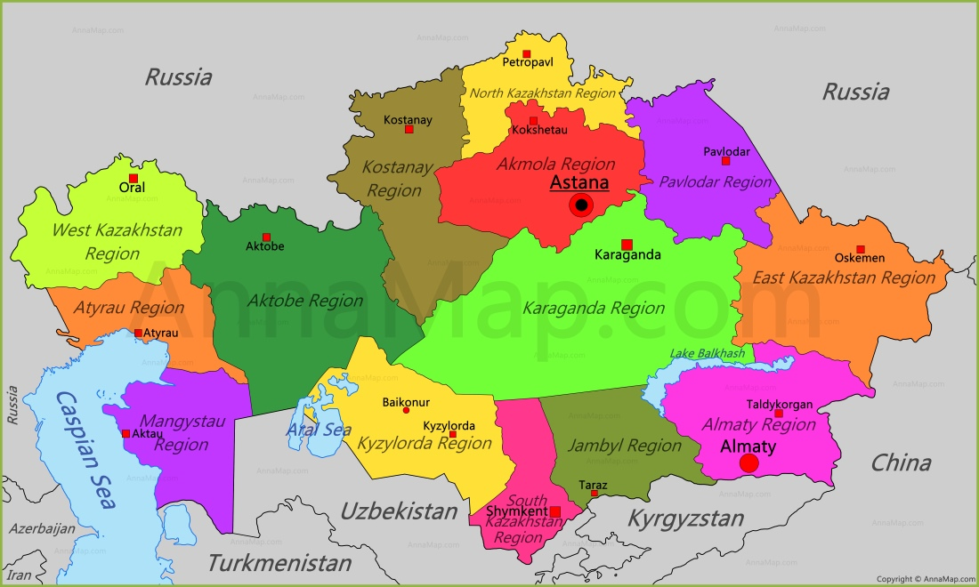 Kazakhstan Map Map of Kazakhstan AnnaMapcom