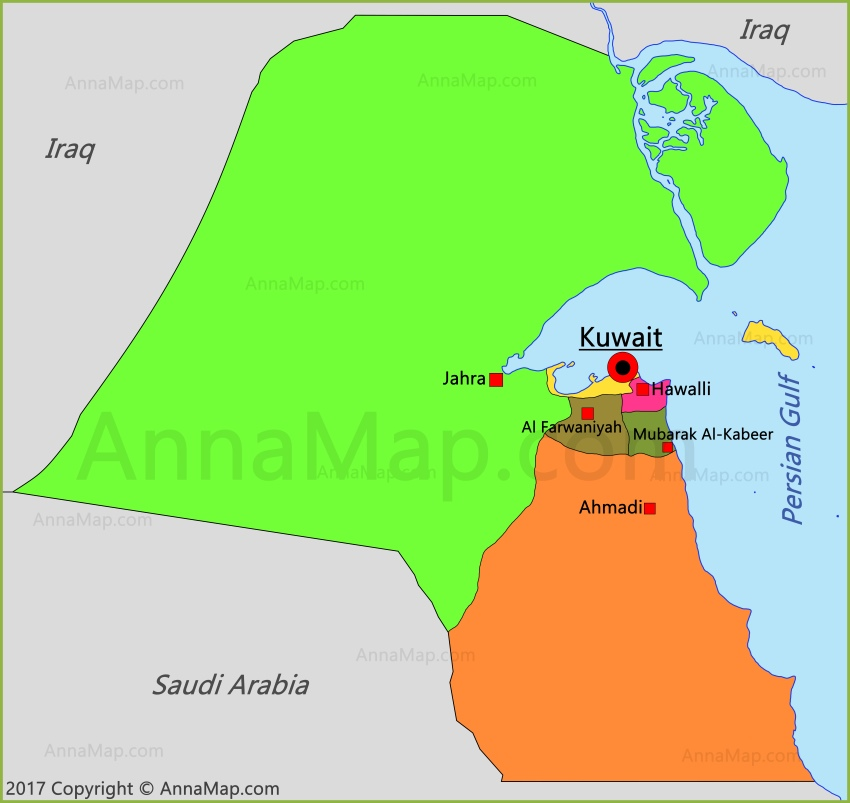 Kuwait Map Map of Kuwait AnnaMapcom