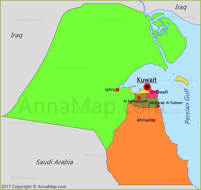 Kuwait Map | Map of Kuwait - AnnaMap.com
