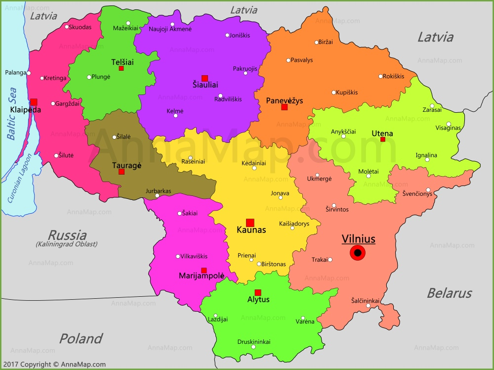 Lithuania Map | Map of Lithuania - AnnaMap.com