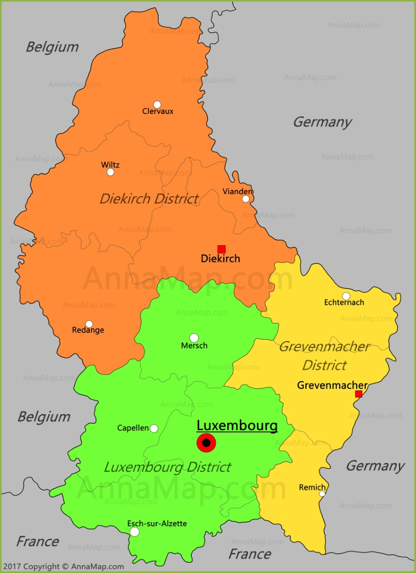 Luxembourg Map Map of Luxembourg AnnaMapcom