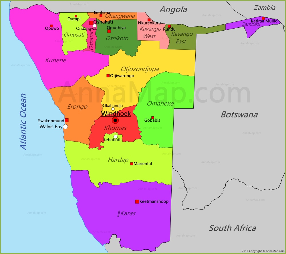 Namibia Map Map of Namibia AnnaMapcom