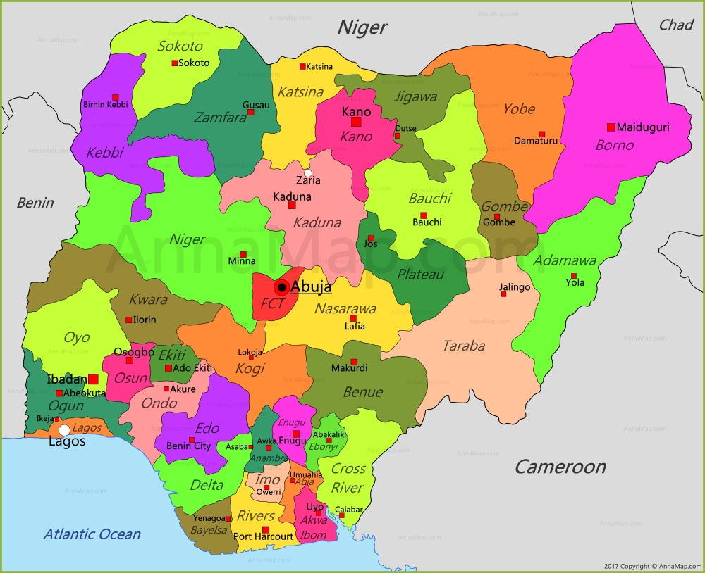 Nigeria Map Map Of Nigeria AnnaMapcom - Nigeria map