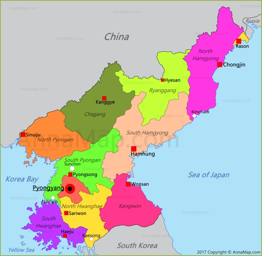 North Korea Map Map of North Korea AnnaMapcom