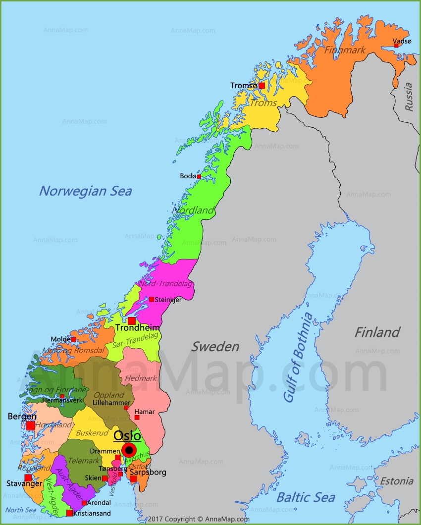 Norway Map Map of Norway AnnaMapcom
