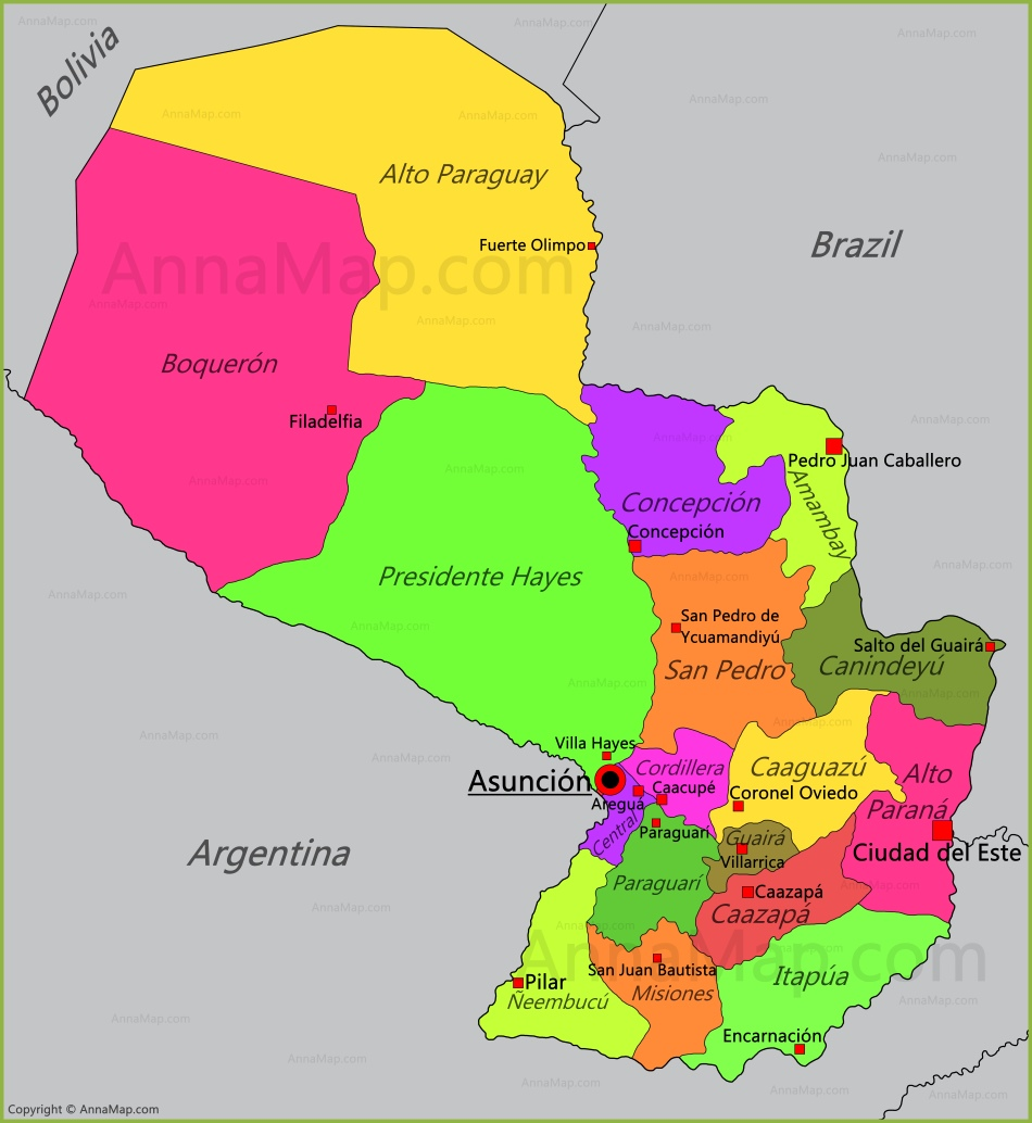 Paraguay Map | Map of Paraguay - AnnaMap.com