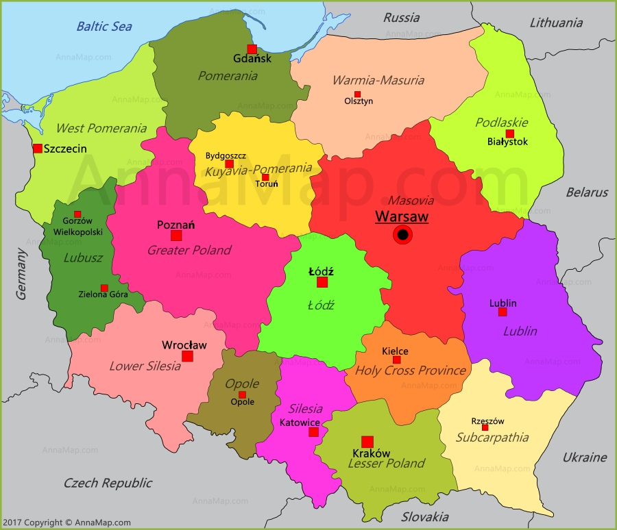 Poland Map Map Of Poland Annamap Com