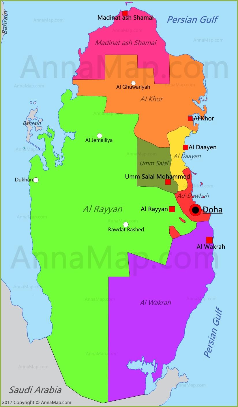 Qatar Map Map Of Qatar AnnaMapcom - Qatar map