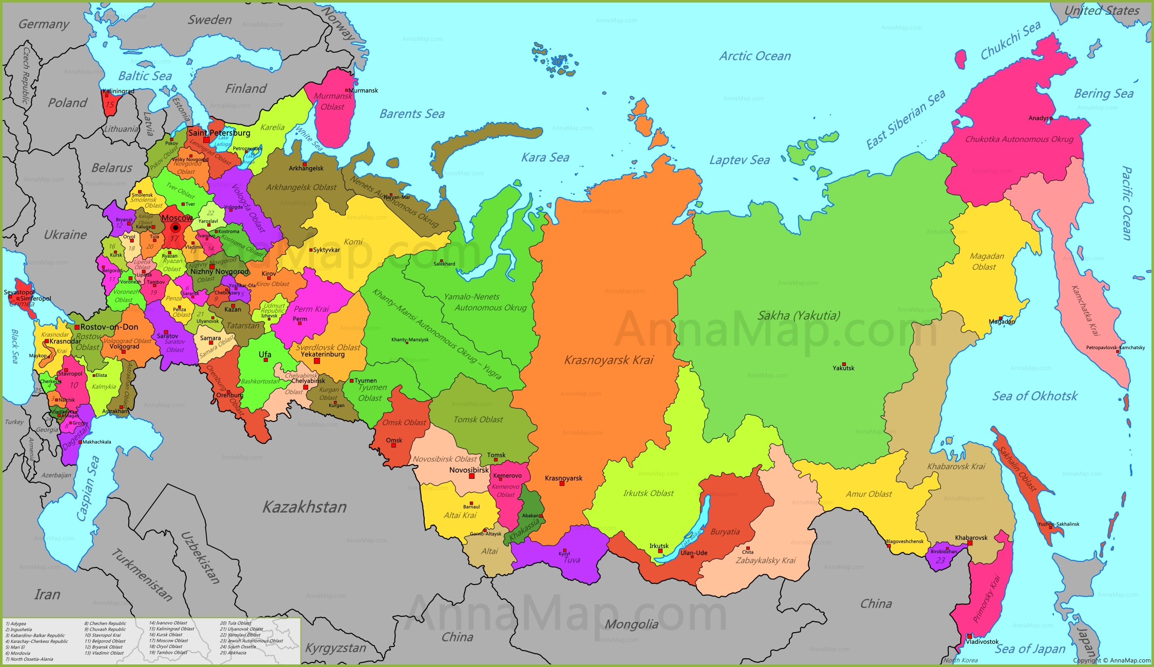 Russia Map Map of Russia Russian Federation AnnaMapcom