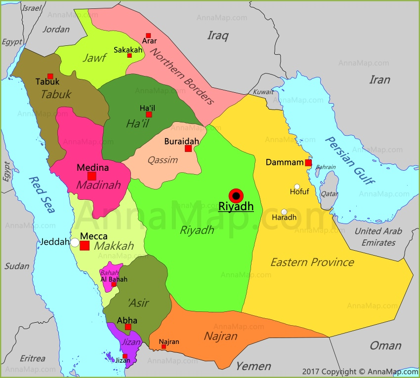 Saudi Arabia Map Map of Saudi Arabia AnnaMapcom