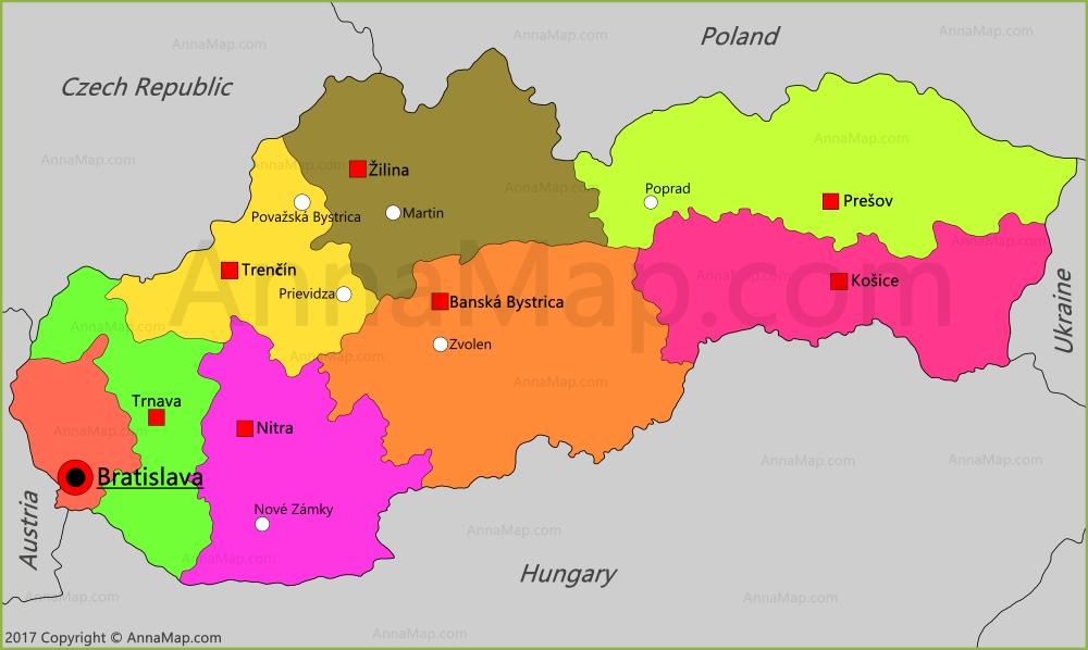 Slovakia Map Map of Slovakia AnnaMapcom