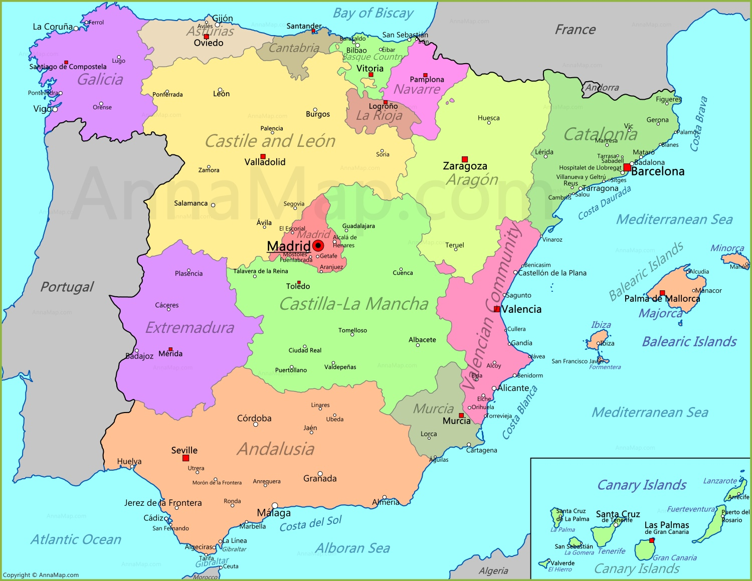 Spain Map Map of Spain AnnaMapcom