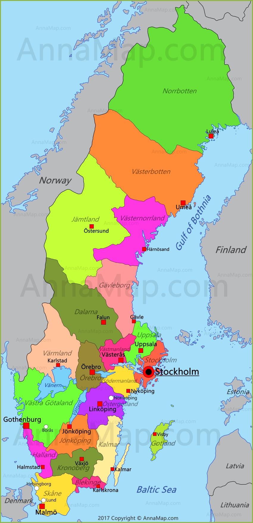 Sweden Map Map of Sweden AnnaMapcom