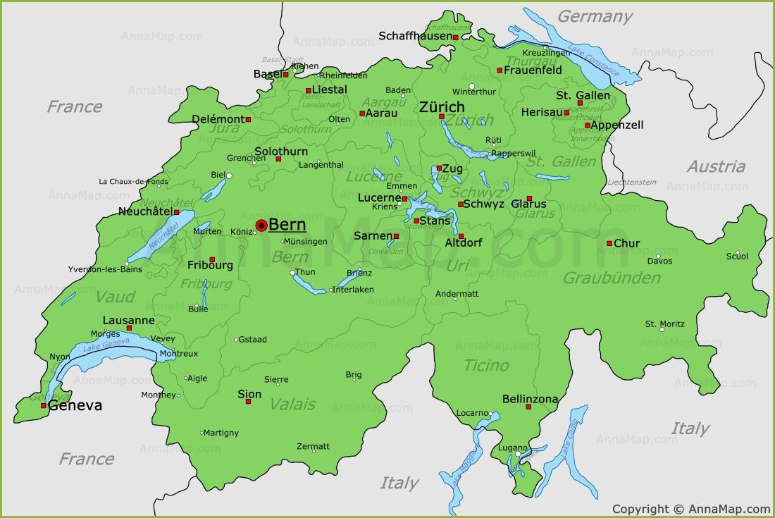 Switzerland Map Map of Switzerland AnnaMapcom