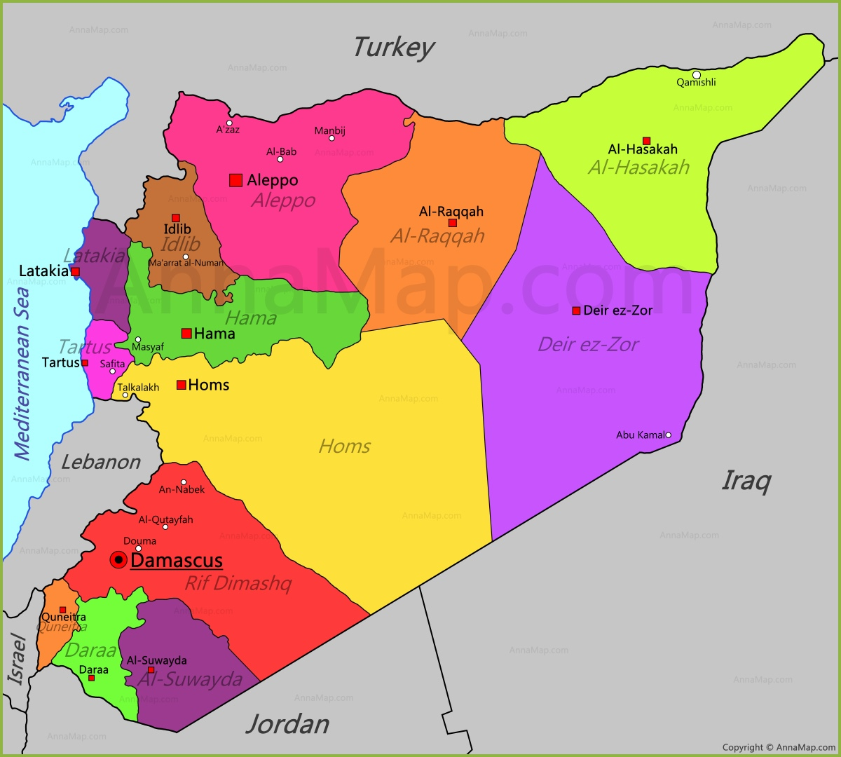 Syria Map Map of Syria AnnaMapcom