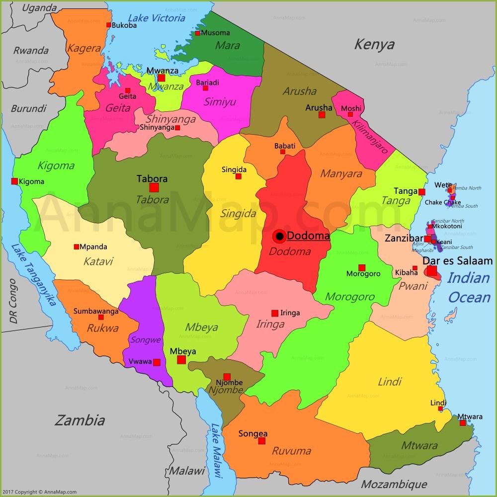 Tanzania Map Map of Tanzania AnnaMapcom
