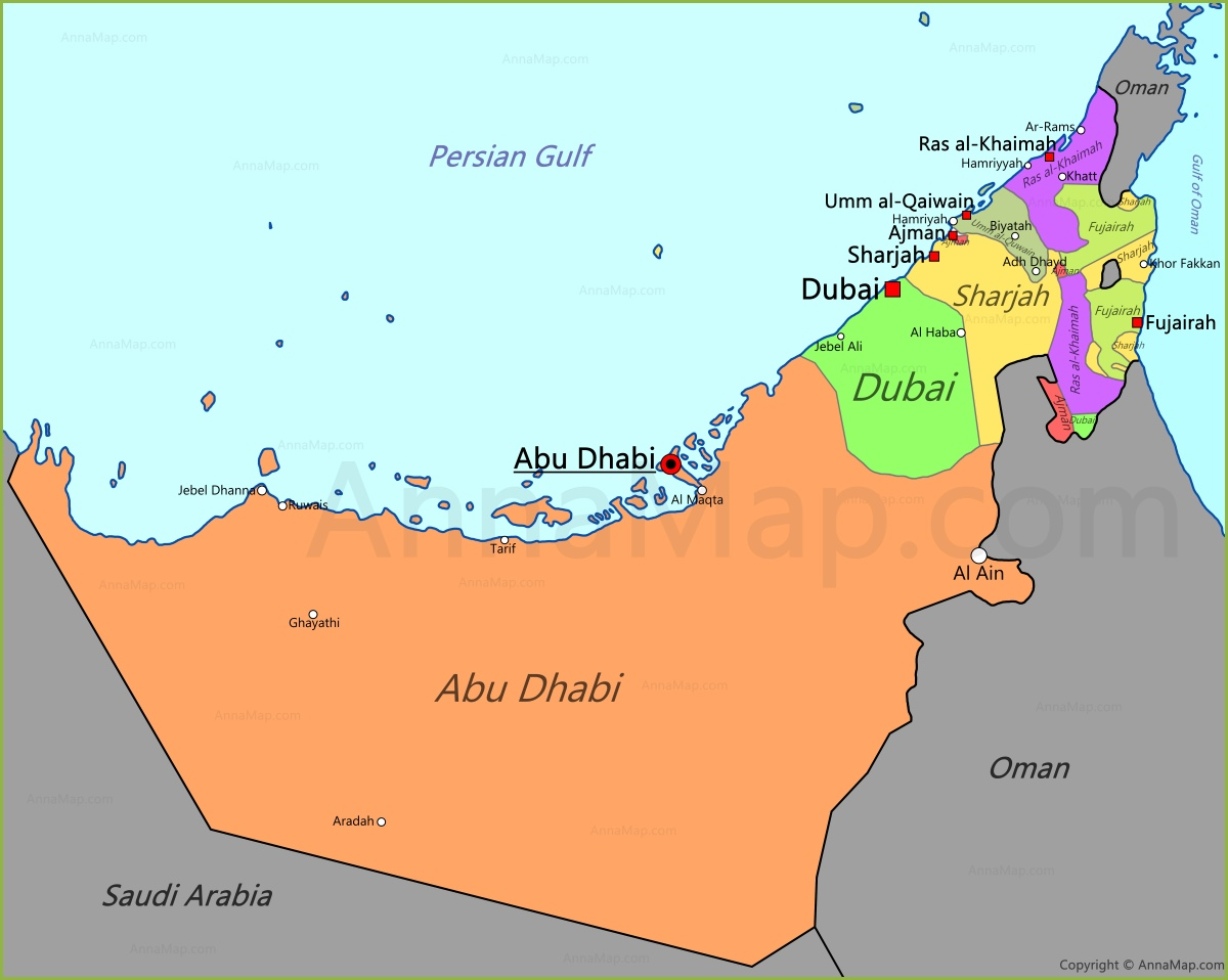 UAE Map Map of United Arab Emirates AnnaMapcom