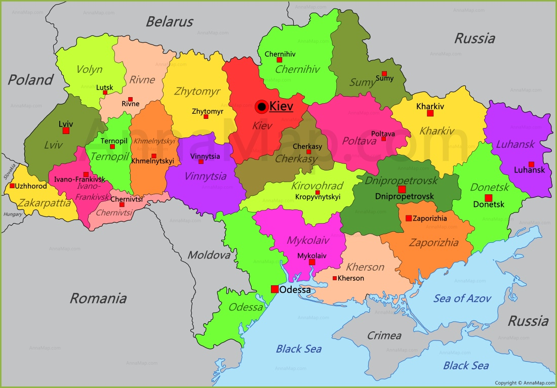 Ukraine Map Map of Ukraine AnnaMapcom