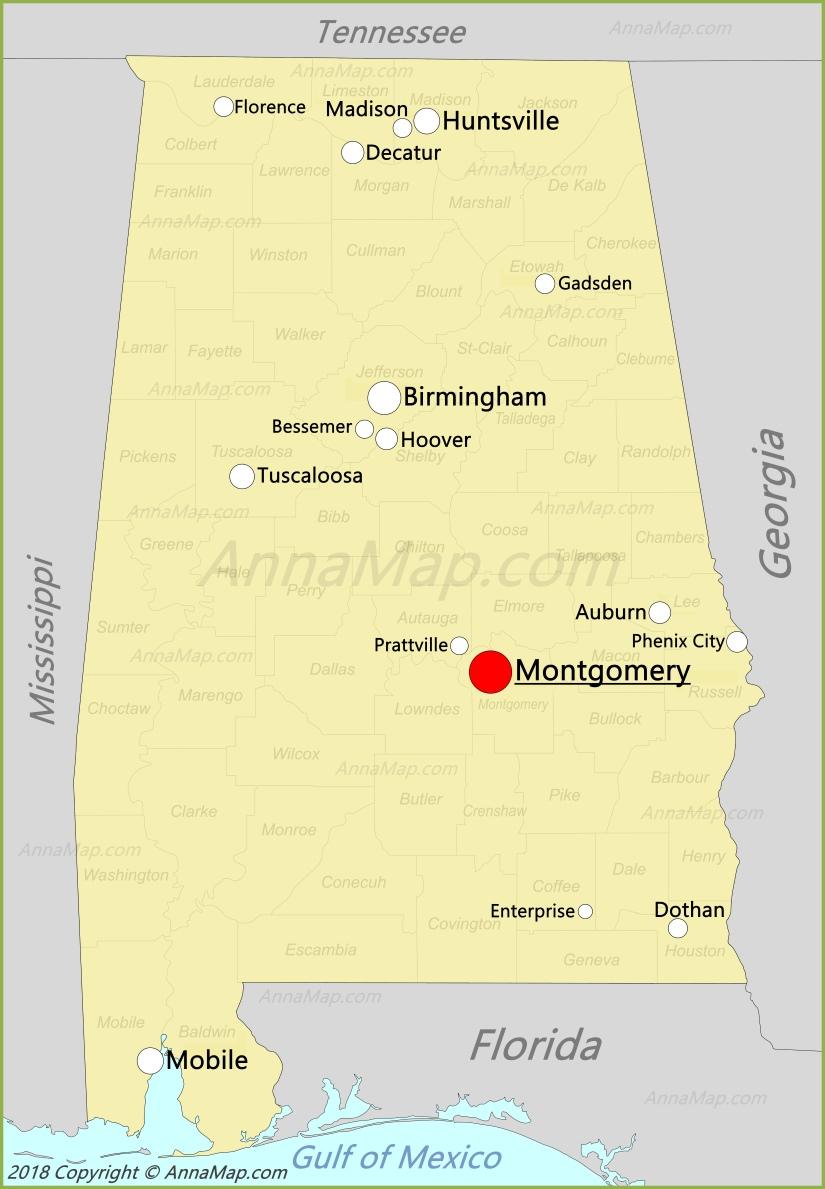 Alabama Map | United States | Map of Alabama - AnnaMap.com