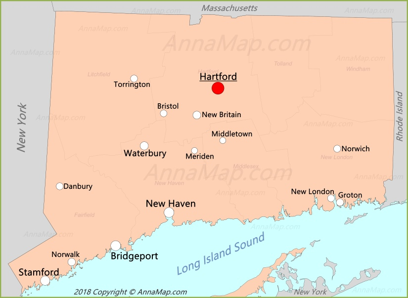 Connecticut Map United States Map of Connecticut AnnaMapcom