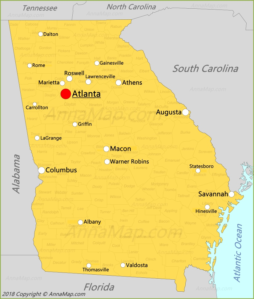 Georgia Map | United States | Map of State of Georgia - AnnaMap.com
