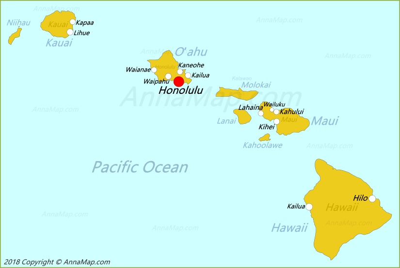 Hawaii Map | United States | Map of Hawaii - AnnaMap.com