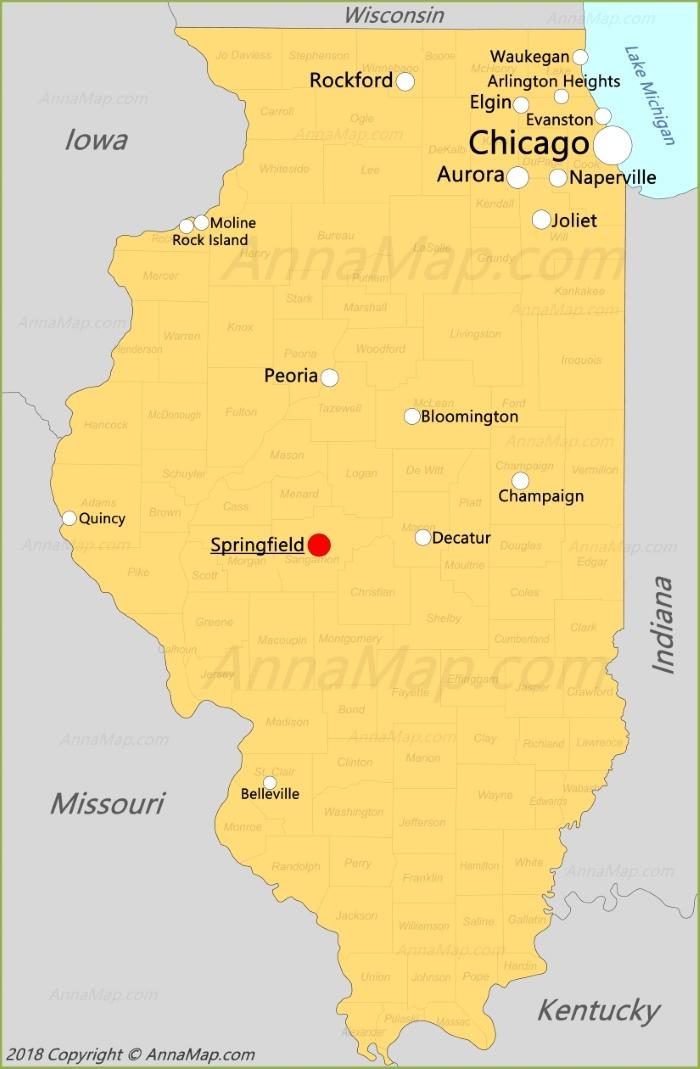 Карта Иллинойса
