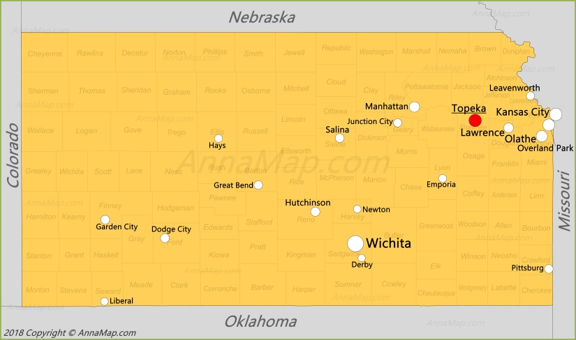Kansas Map | United States | Map of Kansas - AnnaMap.com