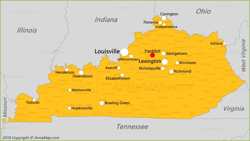 Kentucky Map | United States | Map of Kentucky - AnnaMap.com