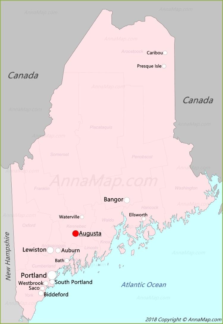Maine Map | United States | Map of Maine - AnnaMap com