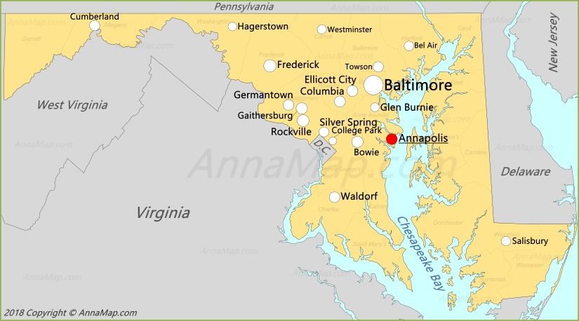Maryland Map | United States | Map of Maryland - AnnaMap.com