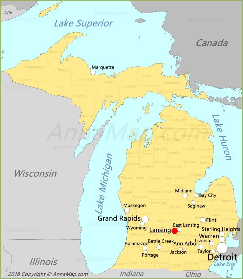 Карта Мичигана