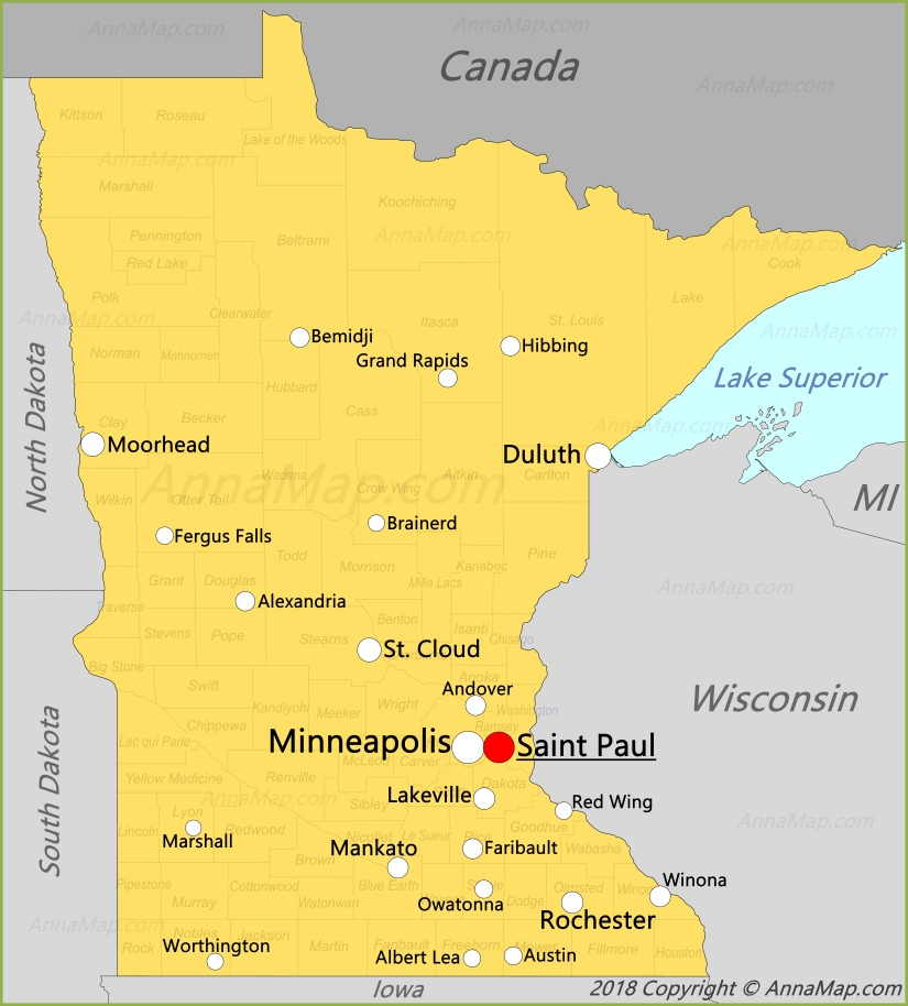 Minnesota Map | United States | Map of Minnesota - AnnaMap.com