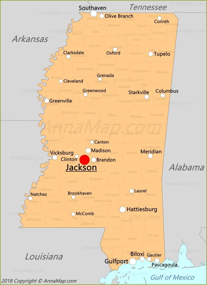 Карта Миссисипи