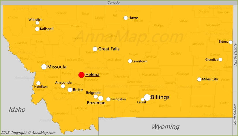Montana Map | United States | Map of Montana - AnnaMap.com