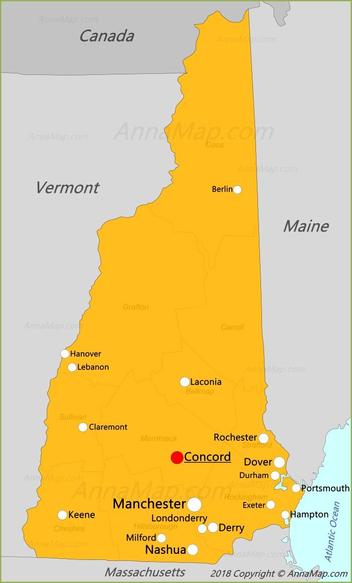 Карта Нью-Гэмпшира